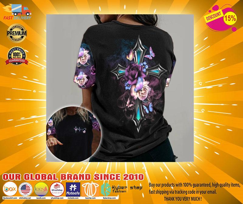 Faith cross floral butterfly 3D hoodie2