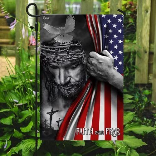 Faith over fear god Jesus American flag4