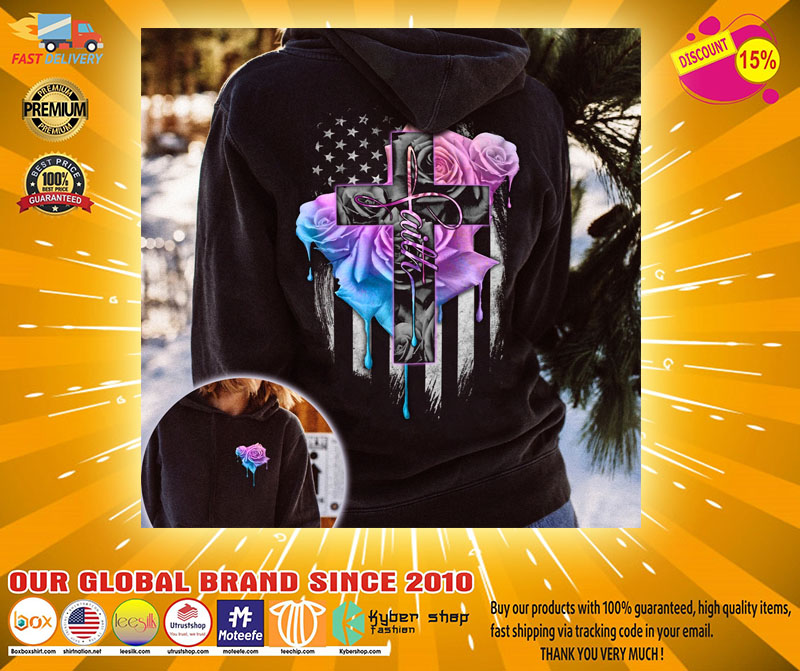 Faith rose skull watercolor 3D hoodie2