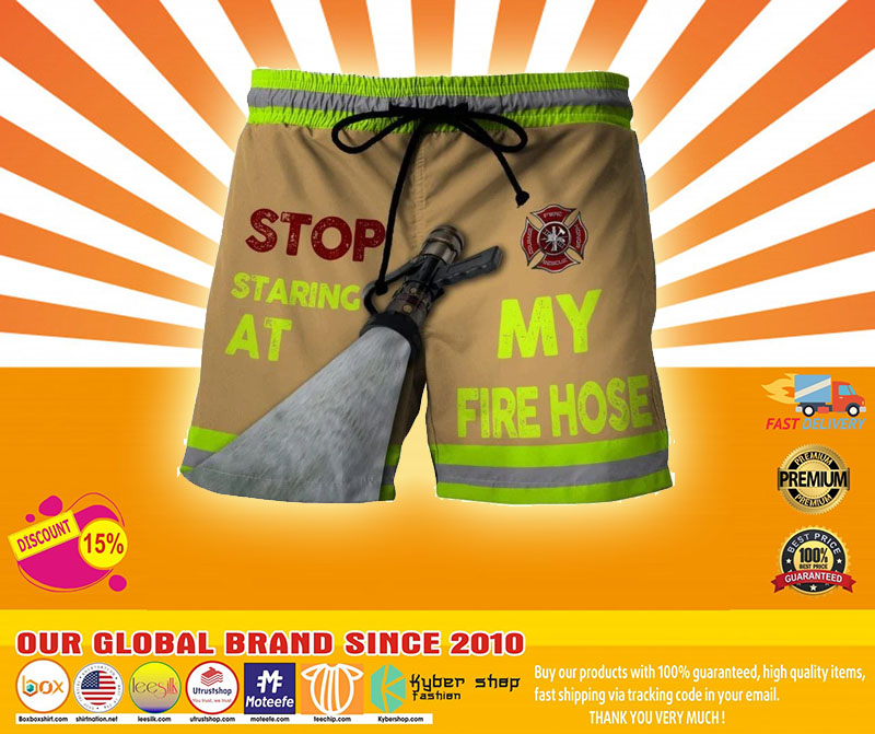 Firefighter Stop staring at my fire house beach short pants4