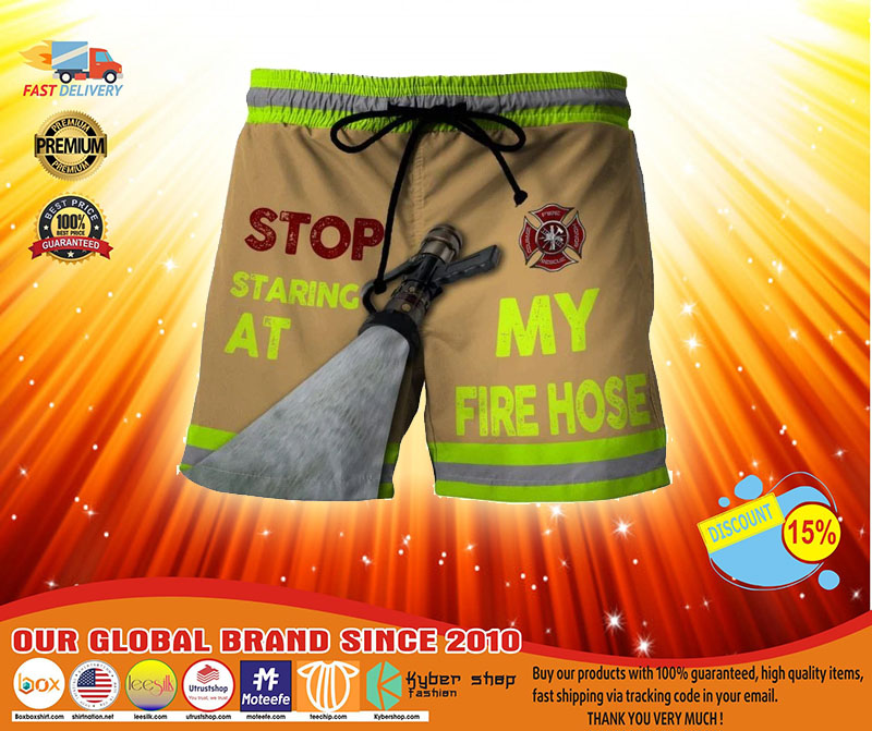 Firefighter Stop staring at my fire house beach short pants3