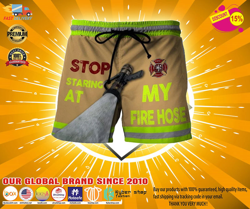 Firefighter Stop staring at my fire house beach short pants2