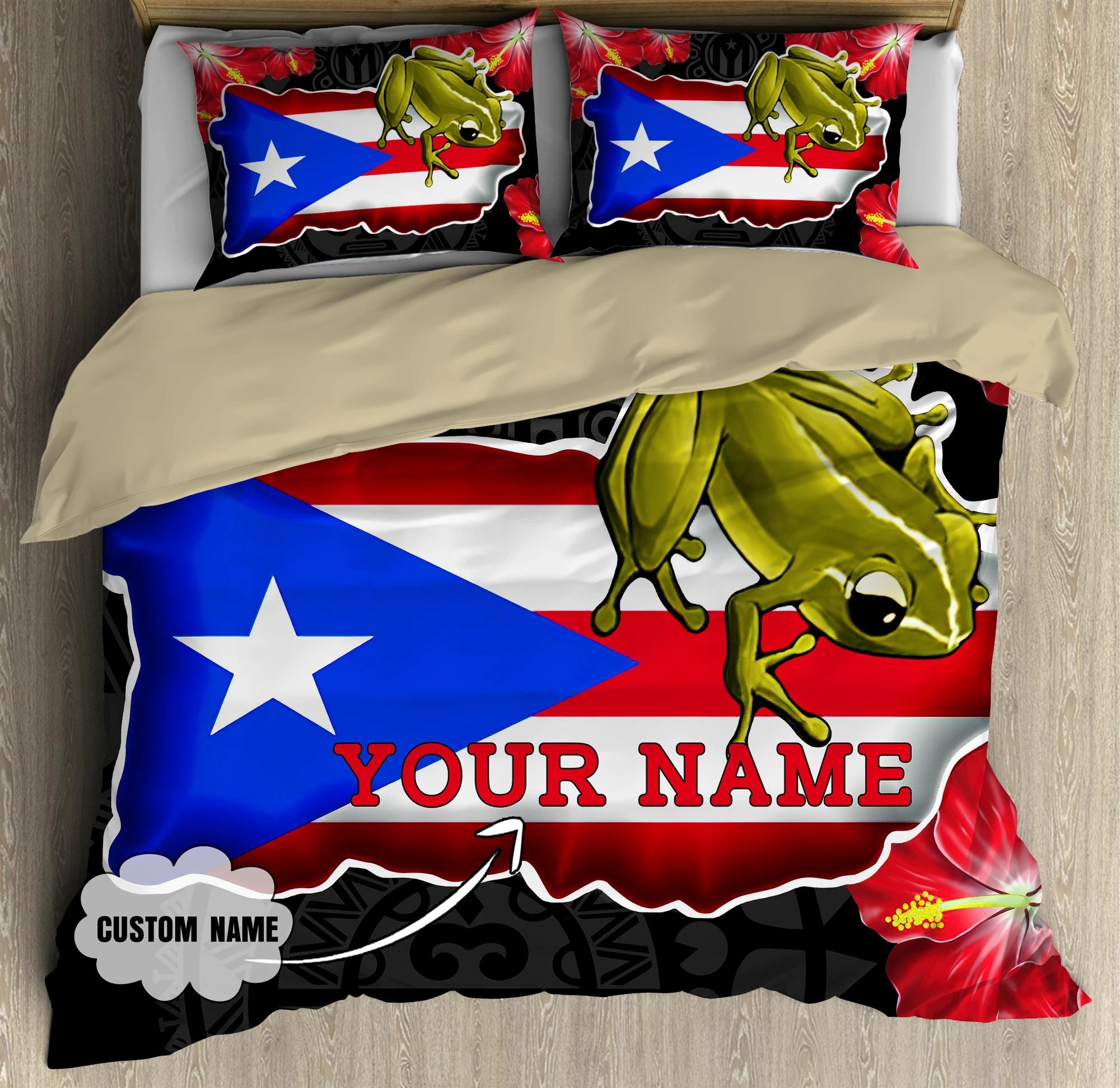 Frog Coqui and love puerto Rico custom name bedding set4
