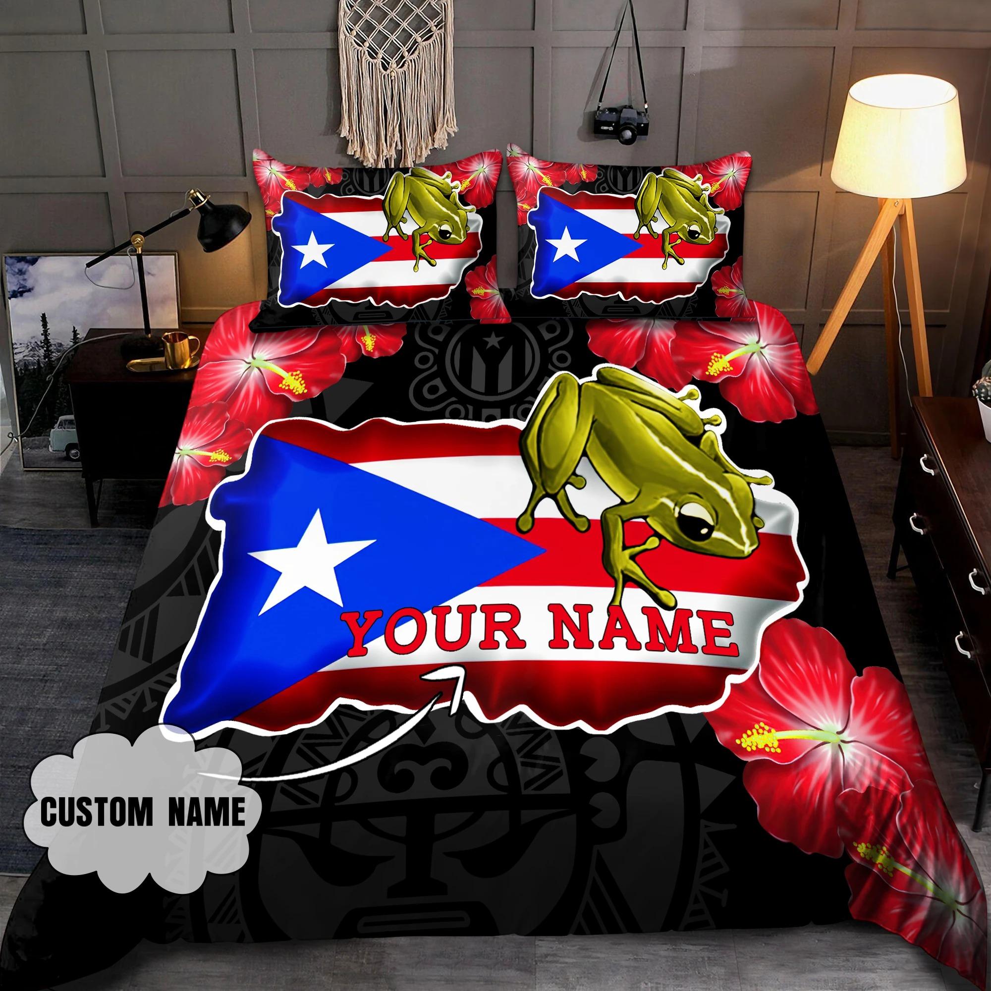 Frog Coqui and love puerto Rico custom name bedding set3