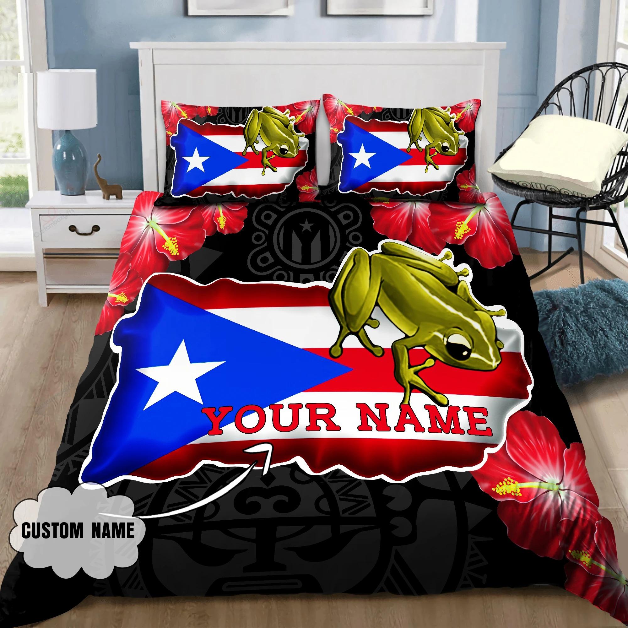 Frog Coqui and love puerto Rico custom name bedding set2