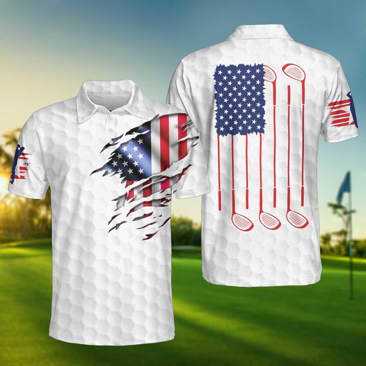 Golf American flag polo shirt2