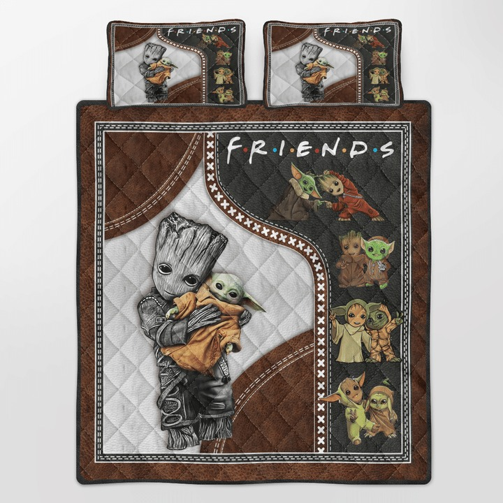 Groot and baby Yoda friend quilt bedding set2 1