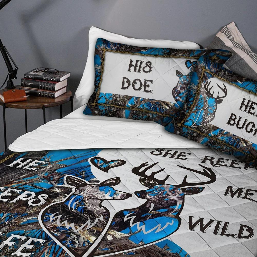 His doe her buck she keep me wild he keeps me safe custom name quilt bedding set4