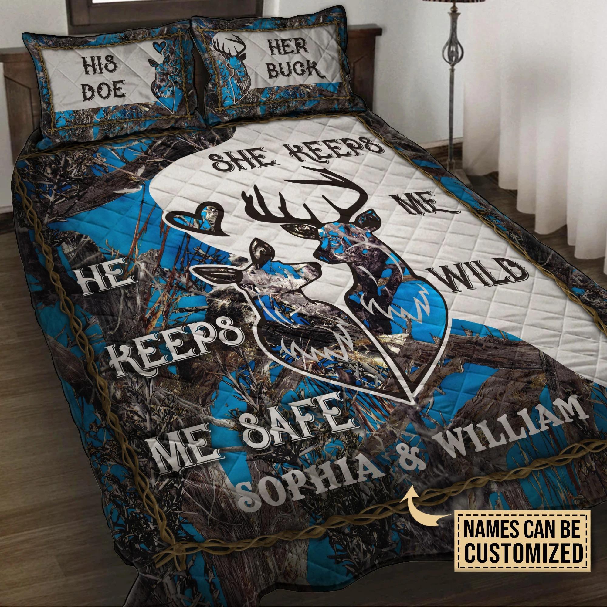His doe her buck she keep me wild he keeps me safe custom name quilt bedding set3
