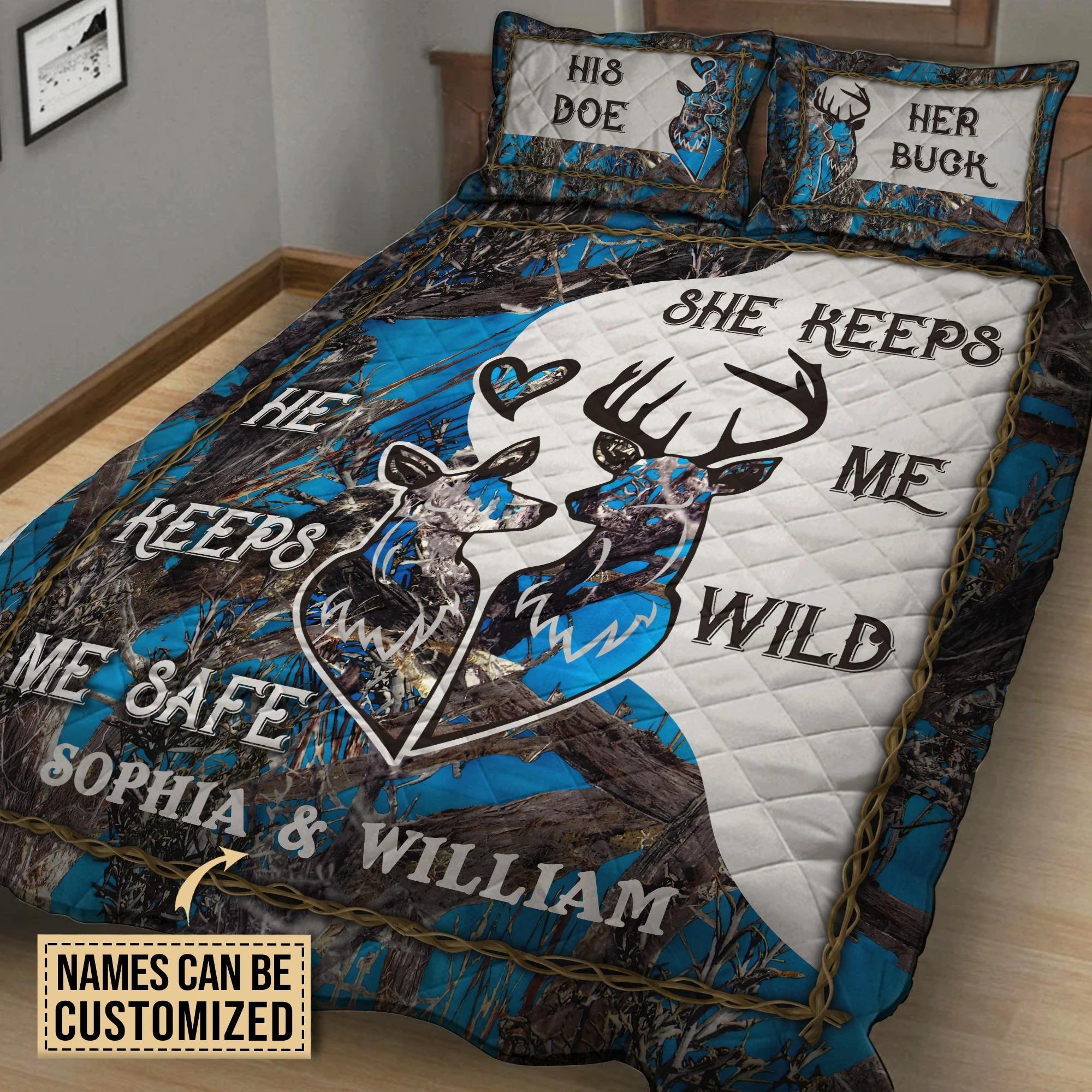 His doe her buck she keep me wild he keeps me safe custom name quilt bedding set2