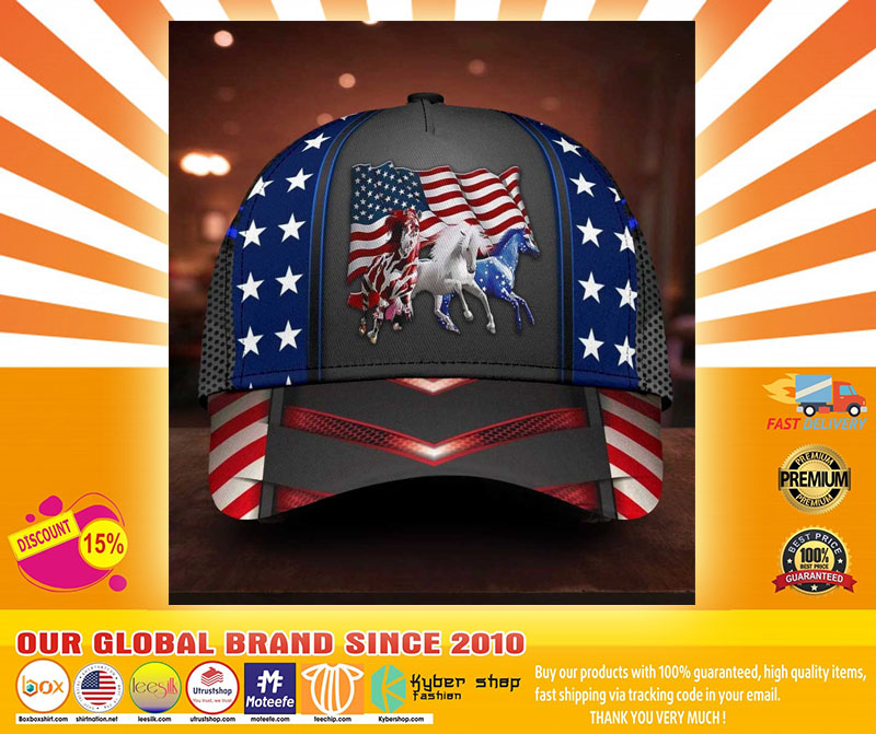 Horse proud American flag cap4