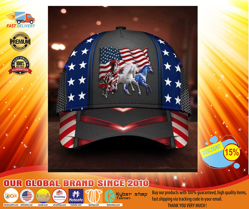 Horse proud American flag cap3