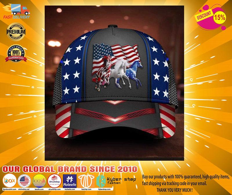 Horse proud American flag cap2