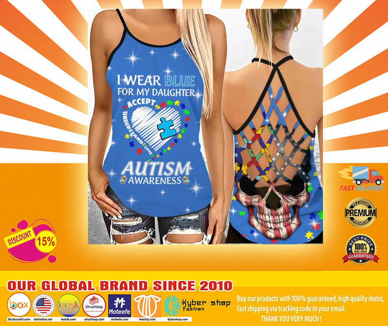 I wear blue autism awareness custom name Strappy tank top4