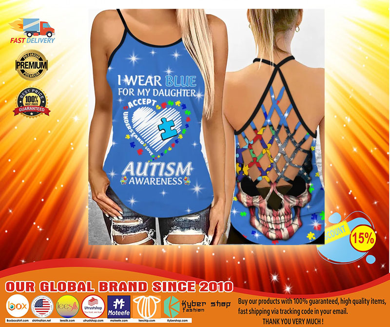 I wear blue autism awareness custom name Strappy tank top3