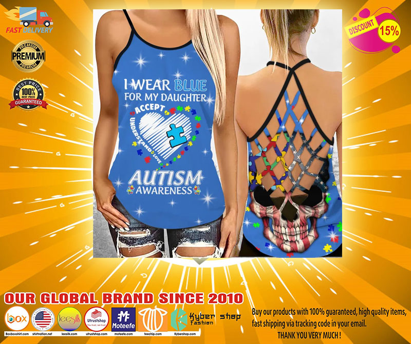 I wear blue autism awareness custom name Strappy tank top2
