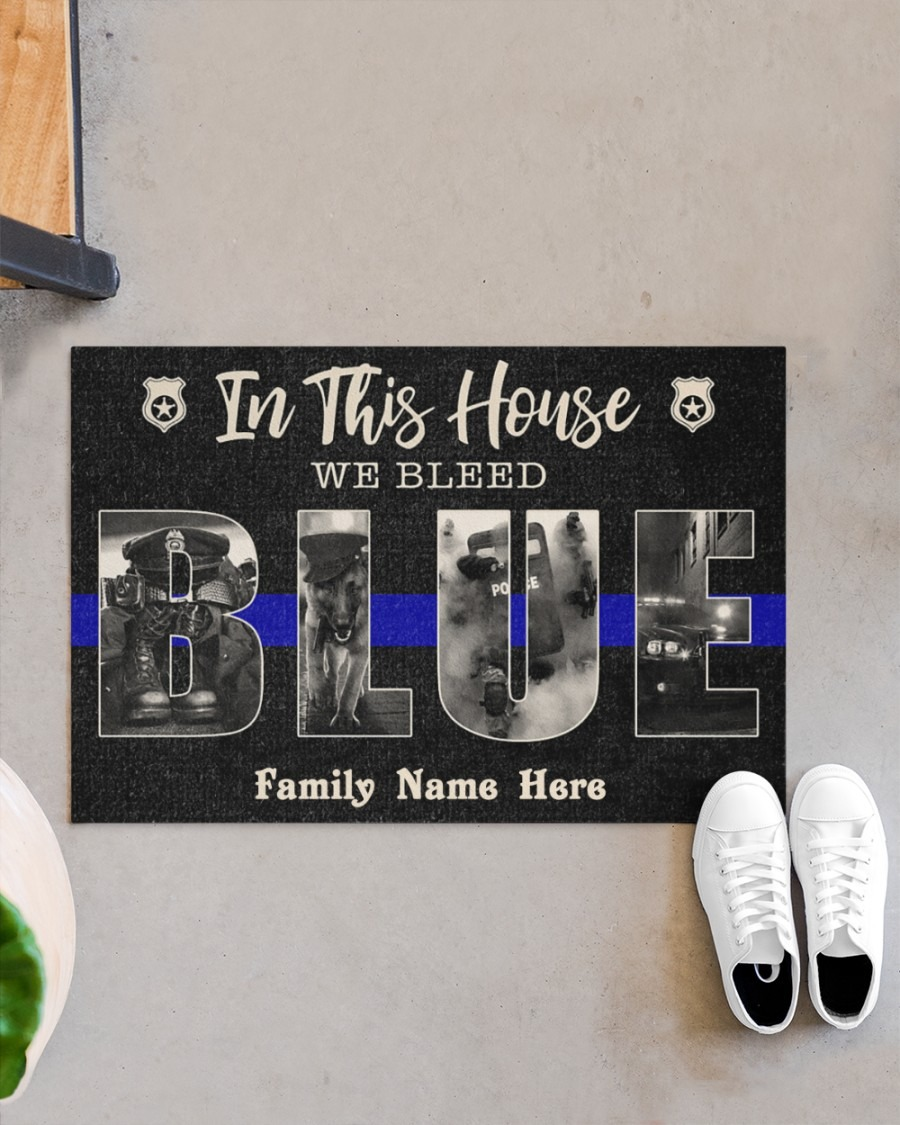 In this house we bleed blue police custom family name doormat4