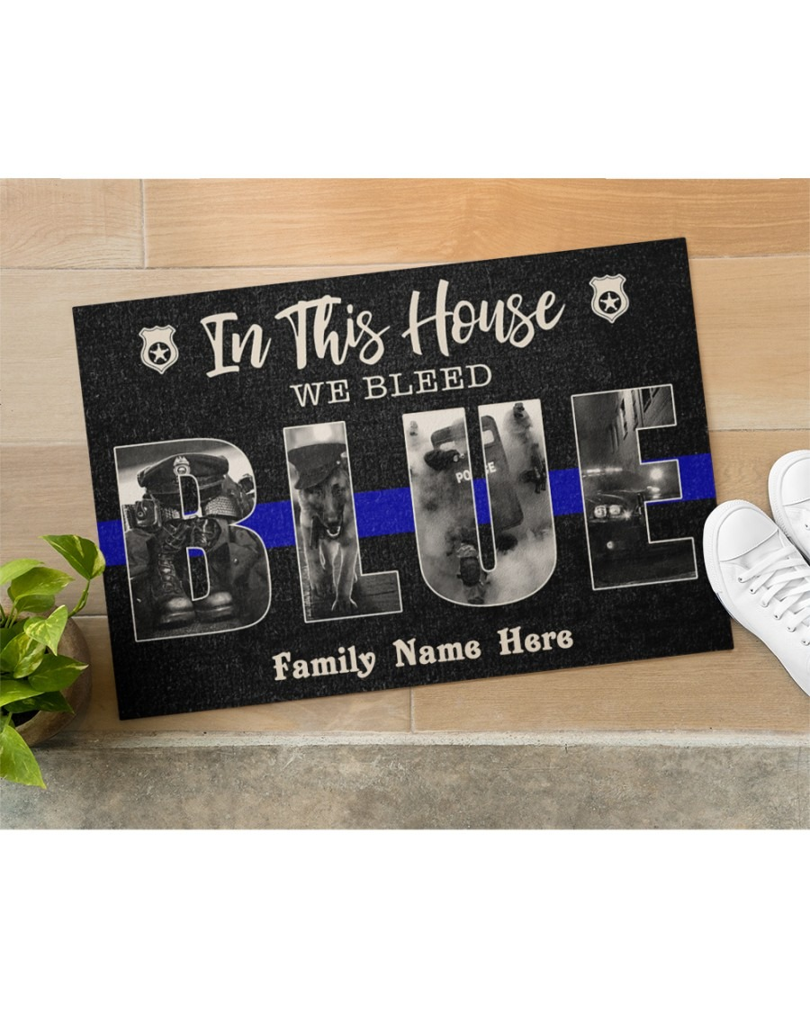 In this house we bleed blue police custom family name doormat2