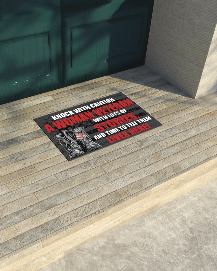 Knock with caution a woman veteran doormat3