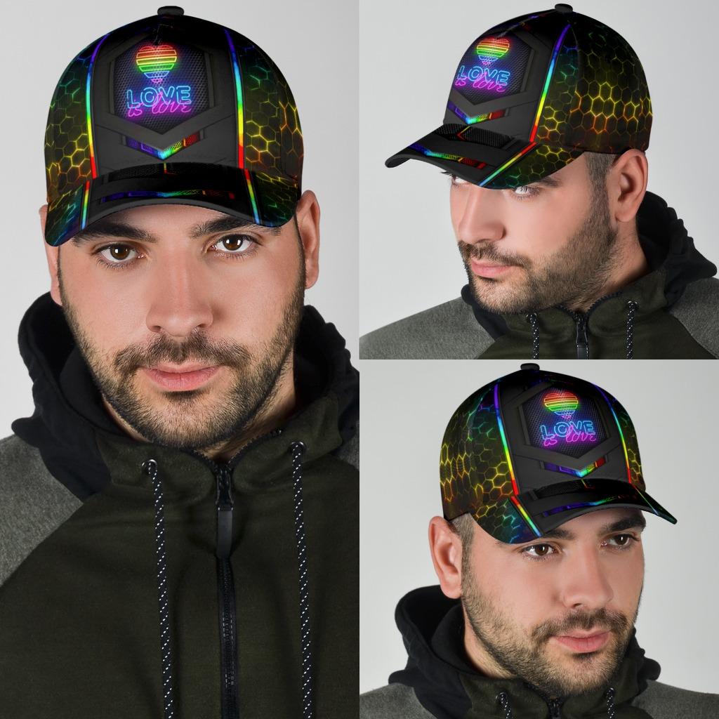 LGBT neon hexagon love is love cap4