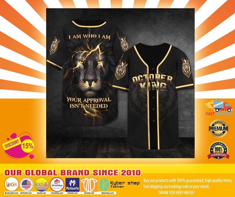 Lion October king I am who I am baseball shirt4
