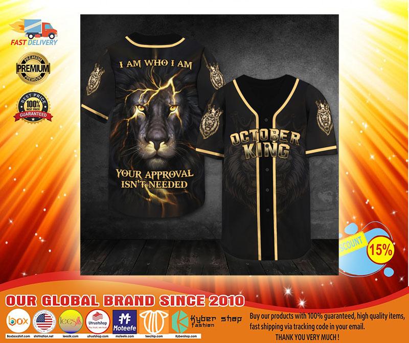 Lion October king I am who I am baseball shirt3