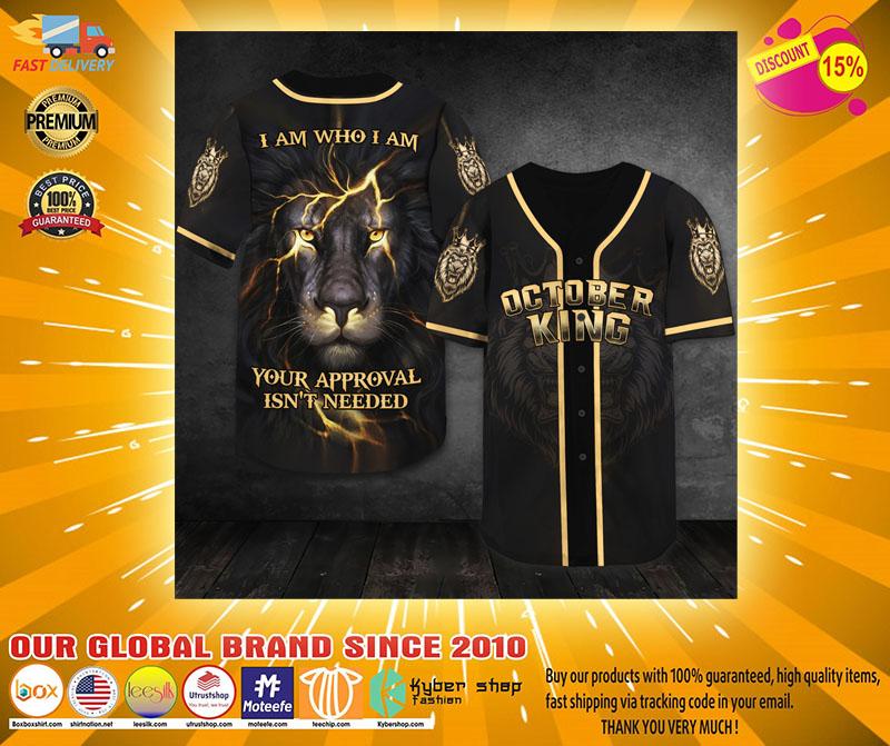 Lion October king I am who I am baseball shirt2