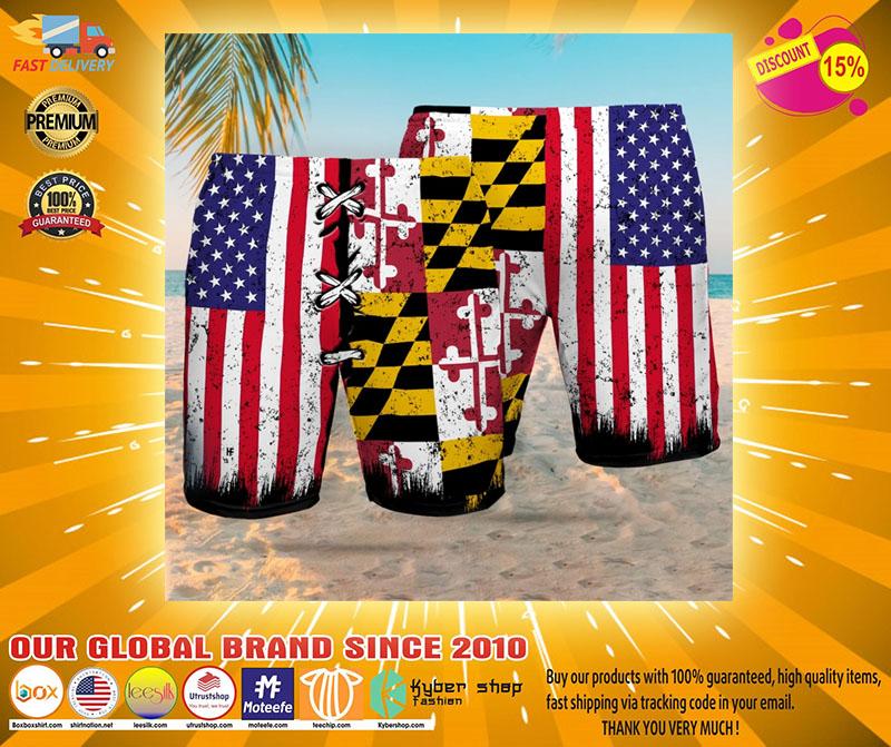 Maryland American flag Beach hawaiian short2