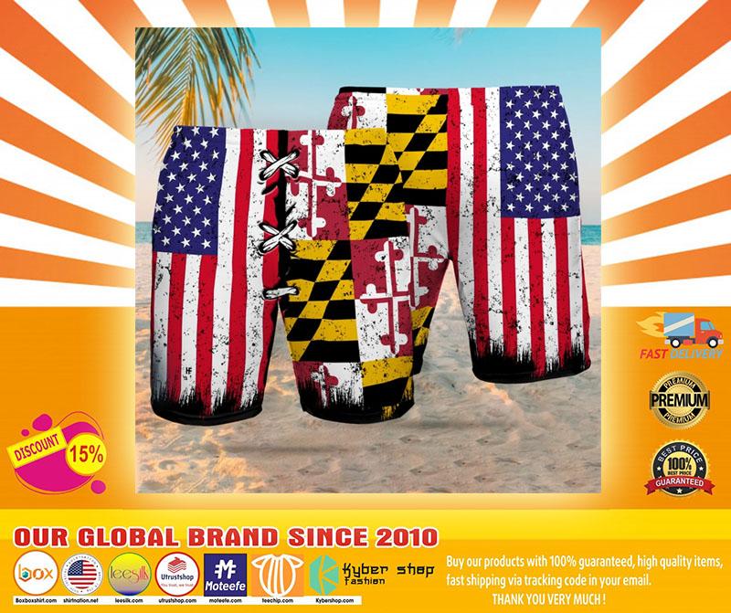 Maryland American flag Beach hawaiian short4