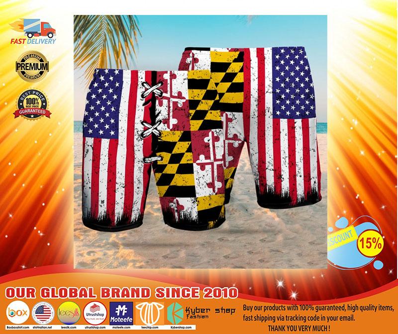 Maryland American flag Beach hawaiian short3
