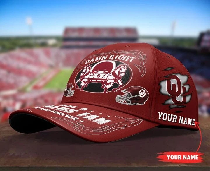 OKSO Damn right I am a Sooners Fan now and forever custom name cap4