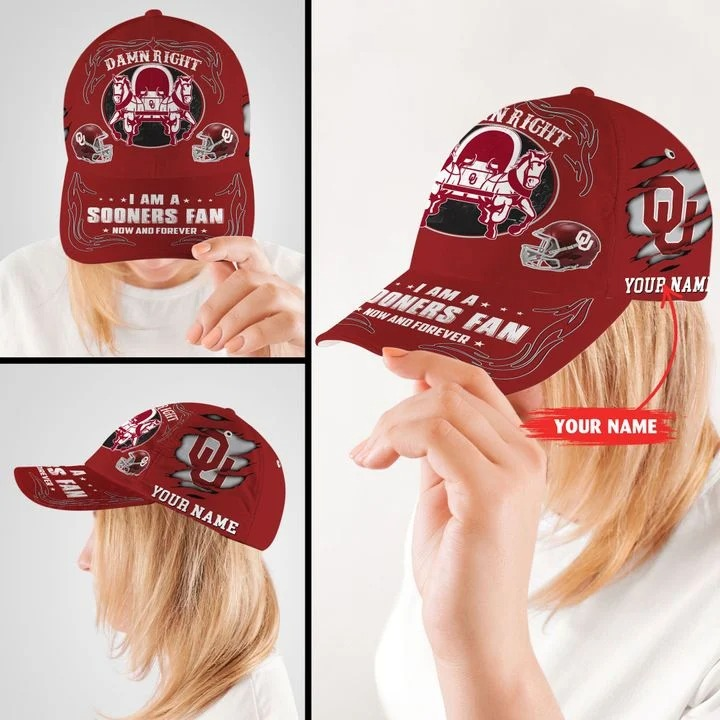 OKSO Damn right I am a Sooners Fan now and forever custom name cap2