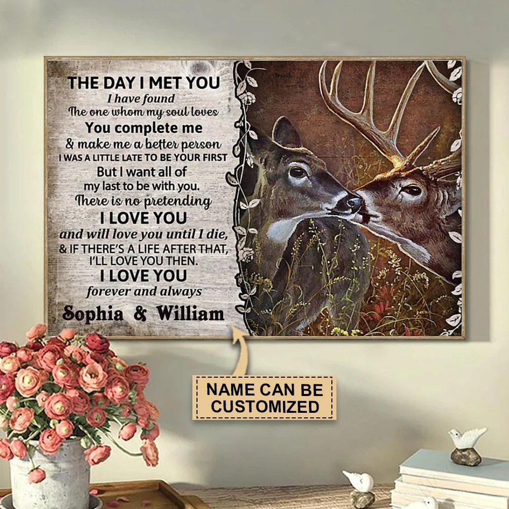 Personalized The day I met you deer custom name poster3