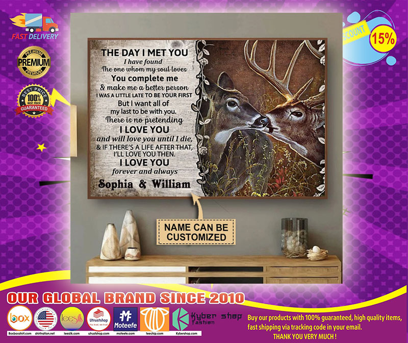 Personalized The day I met you deer custom name poster1
