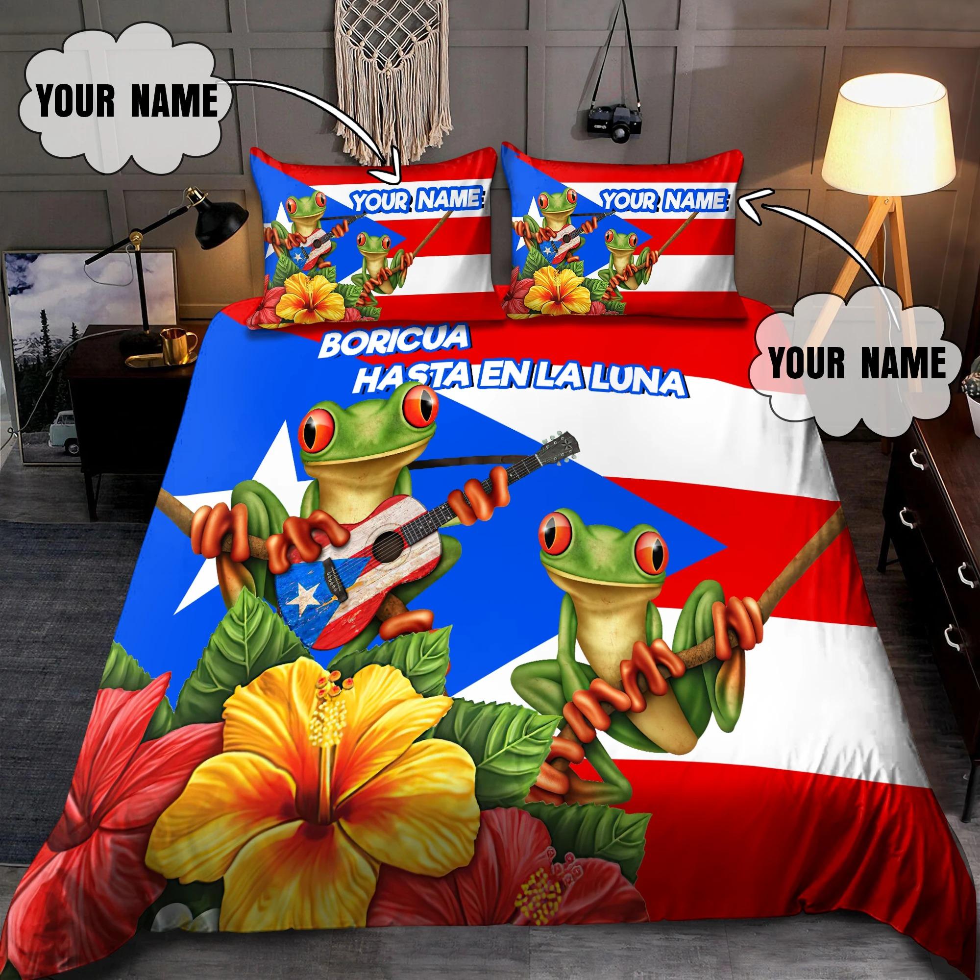 Puerto rico boricua hasta enla luna custom name bedding set2