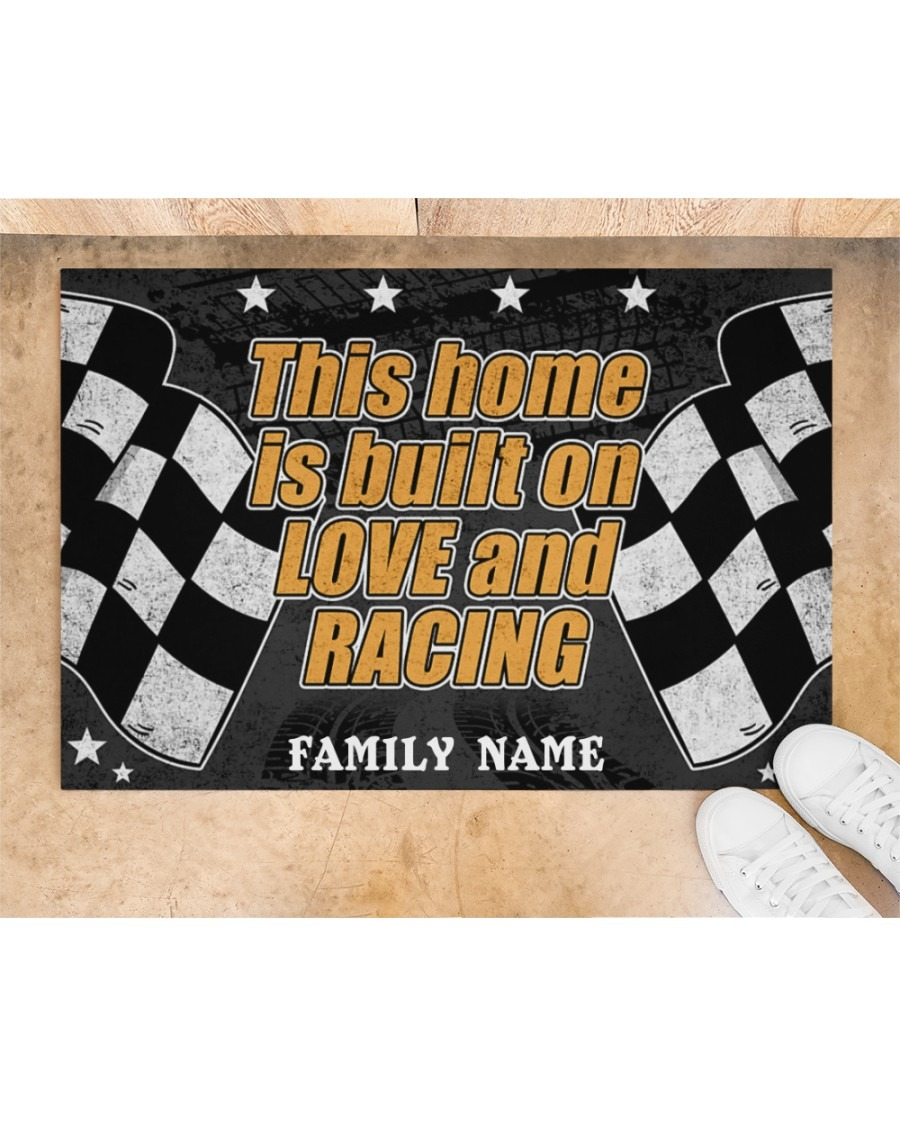 Racing this home is built on love and racing custom name doormat2