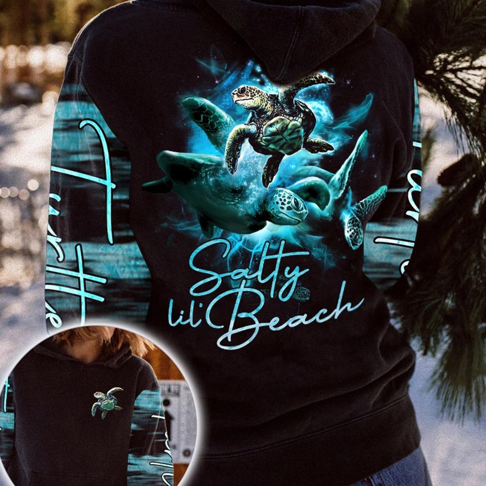 Sea turtle salty lil beach 3D hoodie