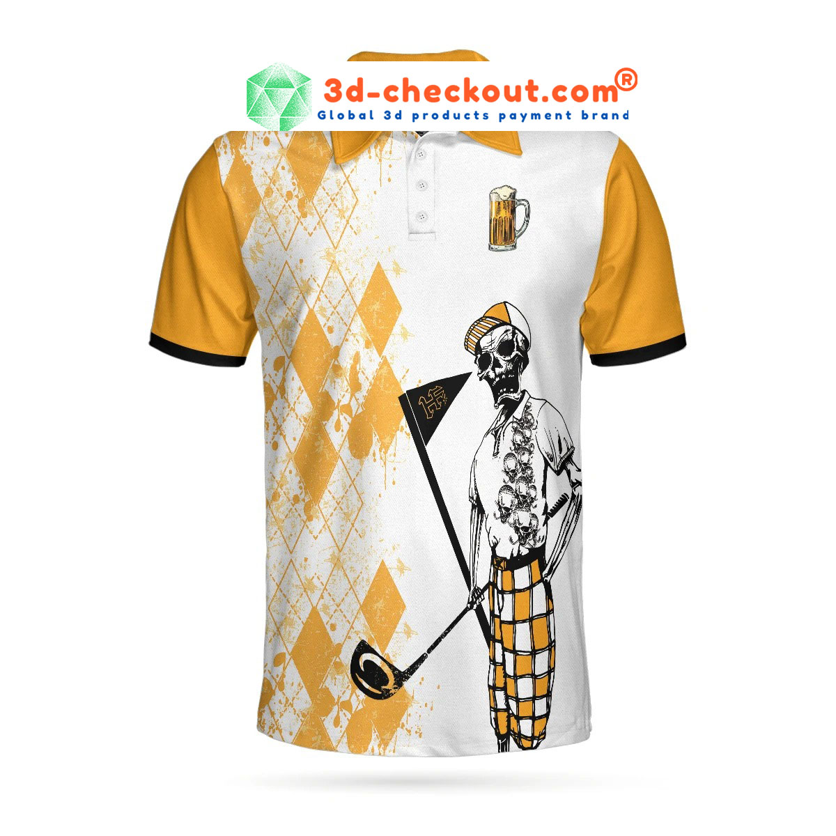Skeleton weekend forecast colfing with a chance of dringking polo shirt2