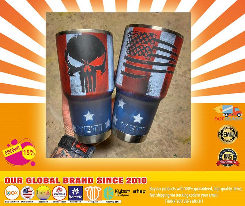 Skull American flag custom name tumbler4