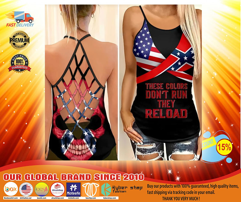 Skull American flag These colors dont run they reload cross camisole Strappy tank top3