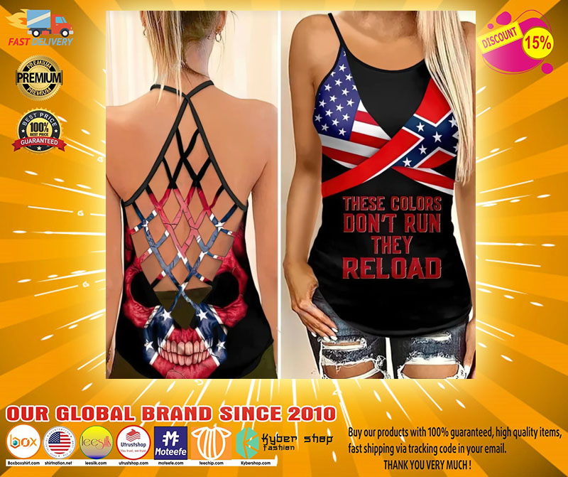 Skull American flag These colors dont run they reload cross camisole Strappy tank top2