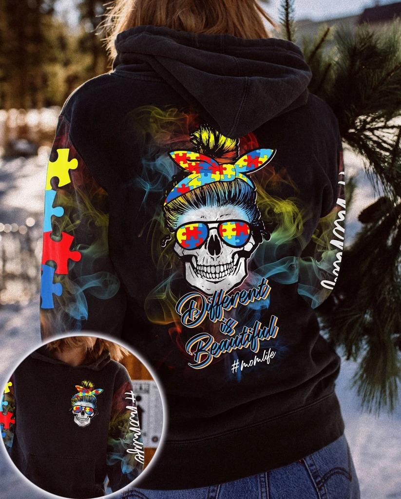 Skull different is beatiful momlife 3D hoodie