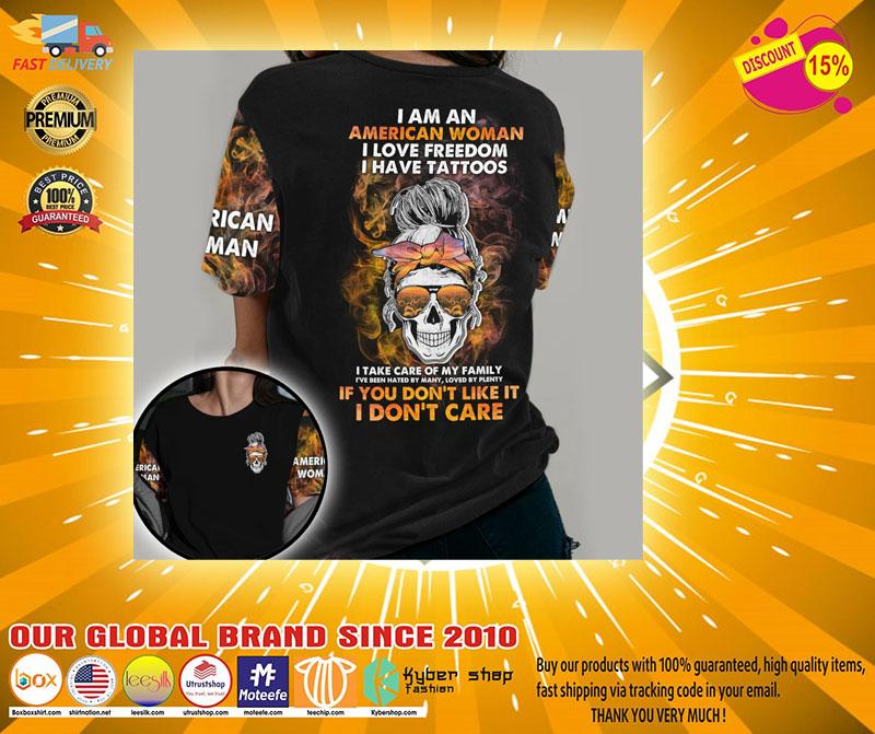 Skull I am an American woman I love freedom 3D hoodie2