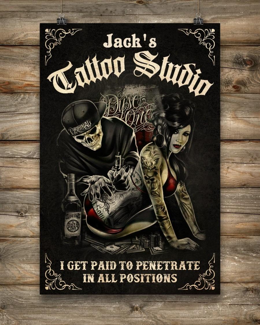 Skull tattoo studio I get paid to penetrate custom name poster3