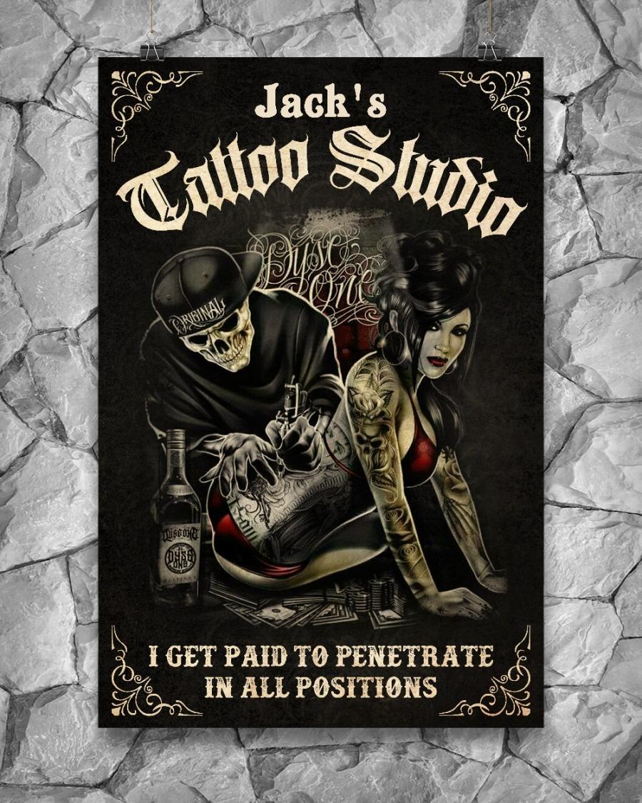 Skull tattoo studio I get paid to penetrate custom name poster2