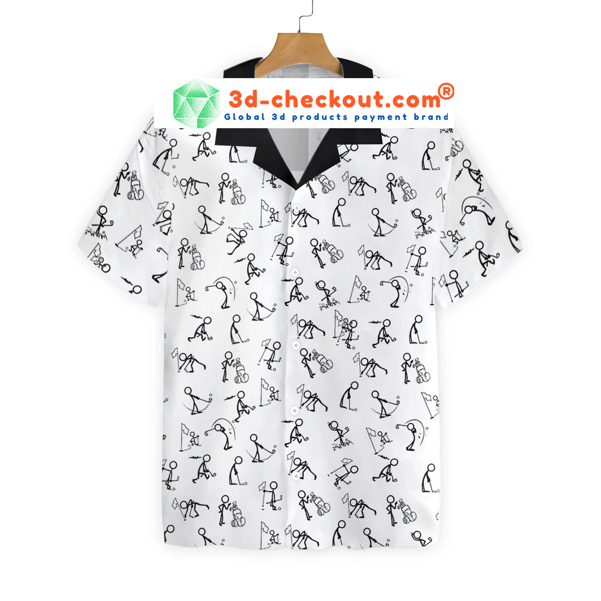 Stickfigures playing golf hawaiian shirt2