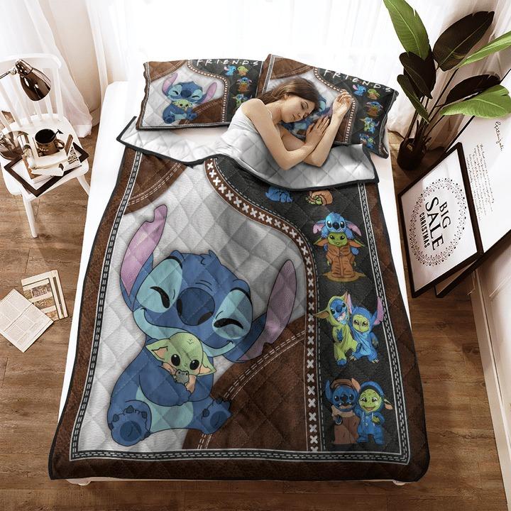 Stitch and baby Yoda friend quilt bedding set3 1