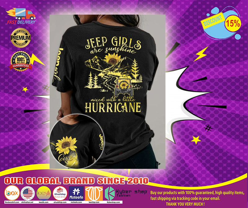 Sunflower jeep girls are sunshine mixed with a little hurricane 3D hoodie1