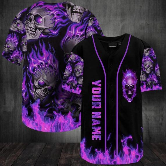 Sunny fire skull custom name baseball jersey shirt4