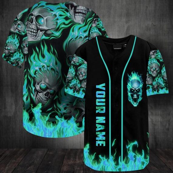 Sunny fire skull custom name baseball jersey shirt3